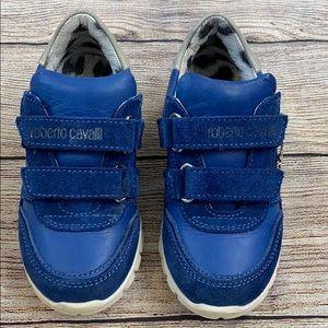 Roberto Cavalli Blue Leather Sneaker